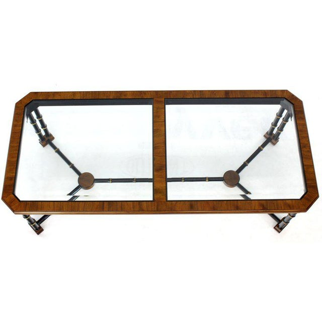 John Widdicomb Rosewood Black Lacquer Rectangular Faux Bamboo Coffee Table Beveled Glass Top For Sale - Image 4 of 11