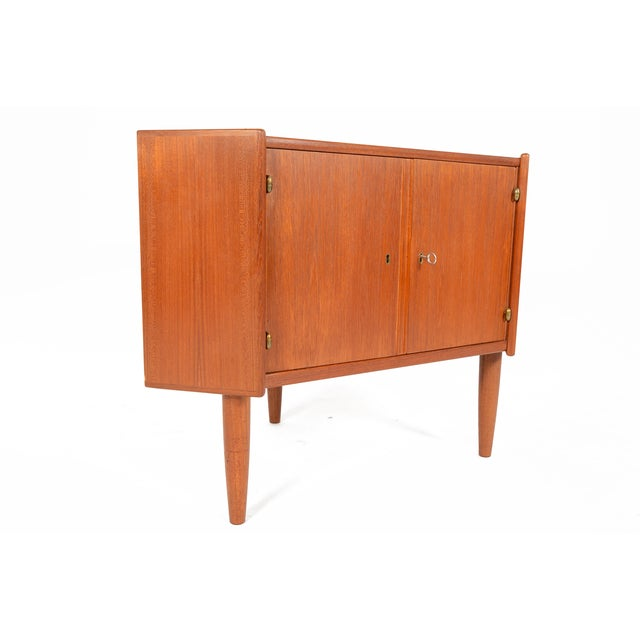 Danish Modern Low Teak Corner Cabinet - Image 5 of 8