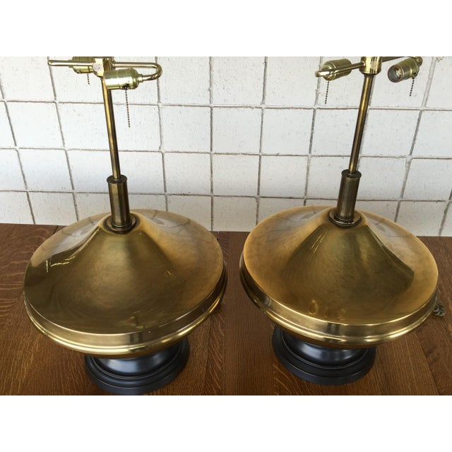 Vintage Brass Oversized Lamps - Pair - Image 3 of 6