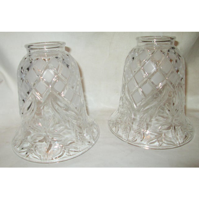 1960s Vintage Cut Glass Light Shade Covers - Set of 6 For Sale - Image 5 of 13