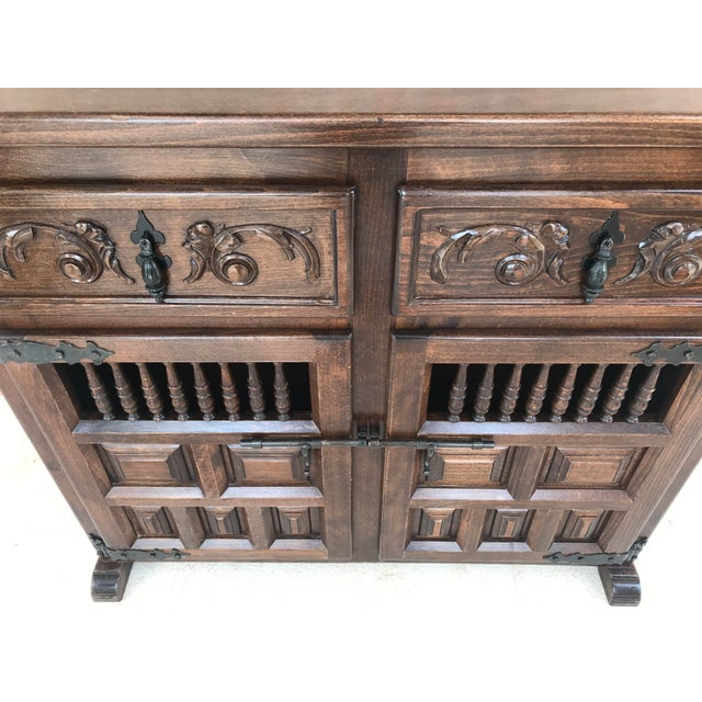 Spanish 20th Century Spanish Carved Dark Walnut Tuscan Two Drawers Credenza or Buffet For Sale - Image 3 of 13