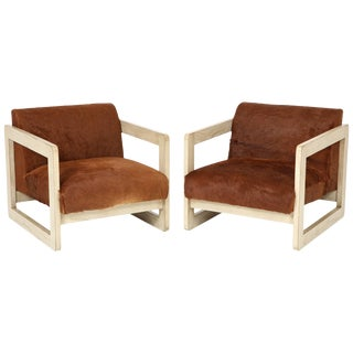 1960s Vintage Cowhide Upholstered Club Chairs- A Pair For Sale