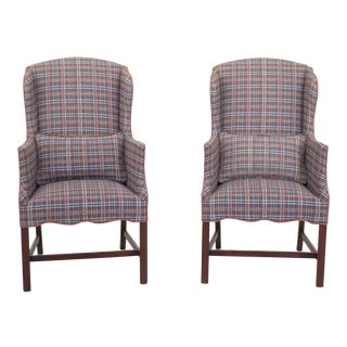 Southwood Petite Size Chippendale Mahogany Wing Chairs - a Pair For Sale