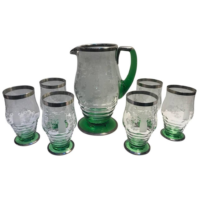 Green 20th Century Vintage Heisey Silver Gilt Lemonade Set - 7 Pieces For Sale - Image 8 of 8