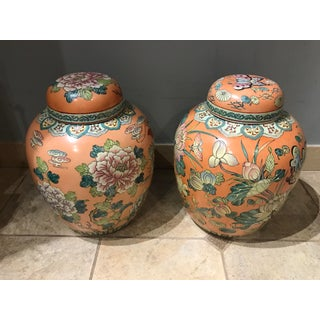 Vintage Peach Ceramic Chinese Ginger Jars With Dragon, Herons, Butterflies, & Flowers - a Pair Preview