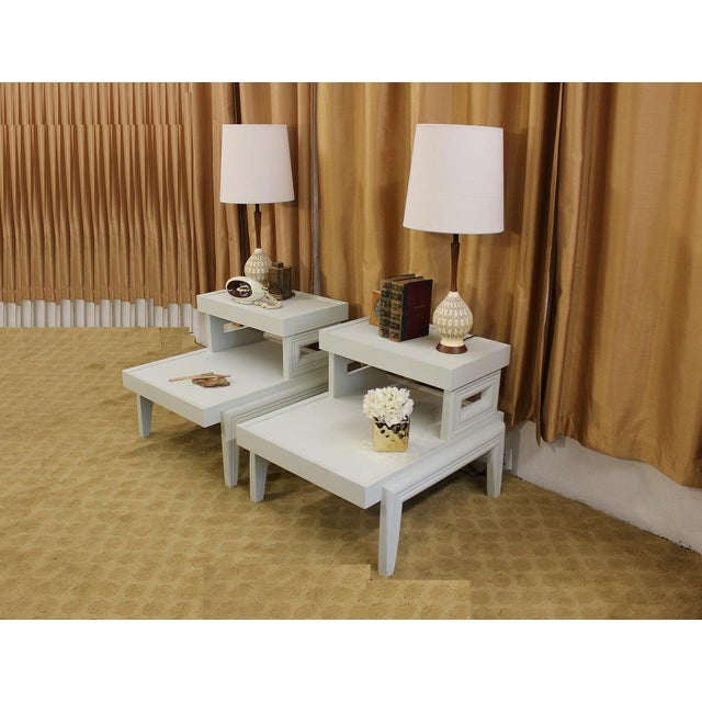 Mid-Century 1950s Step End Tables - A Pair - Image 8 of 9