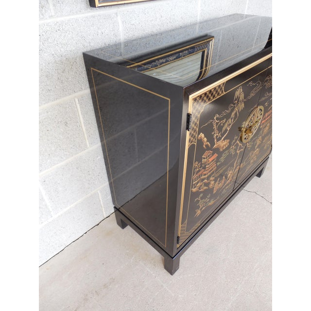 Asian Drexel Et Cetera Black Lacquer Chinoiserie Decorated Console & Mirror For Sale - Image 3 of 12
