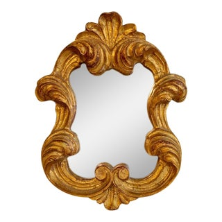 1960s Vintage Gold Wall Mirror For Sale