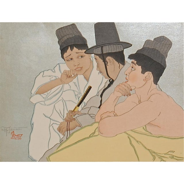 Asian Paul Jacoulet Three Koreans Woodblock Print C.1935 For Sale - Image 3 of 3