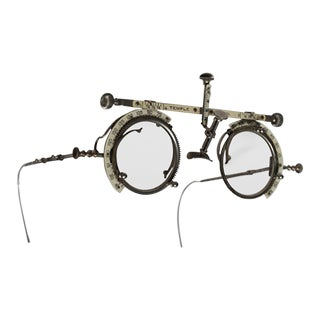 19th Century Metal and Enamel Optometrist Eye Exam Glasses, Circa 1880s
