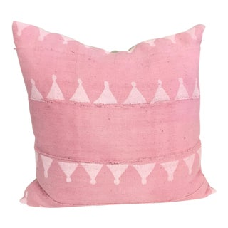 Pink & White Block Print Mud Cloth Pillow