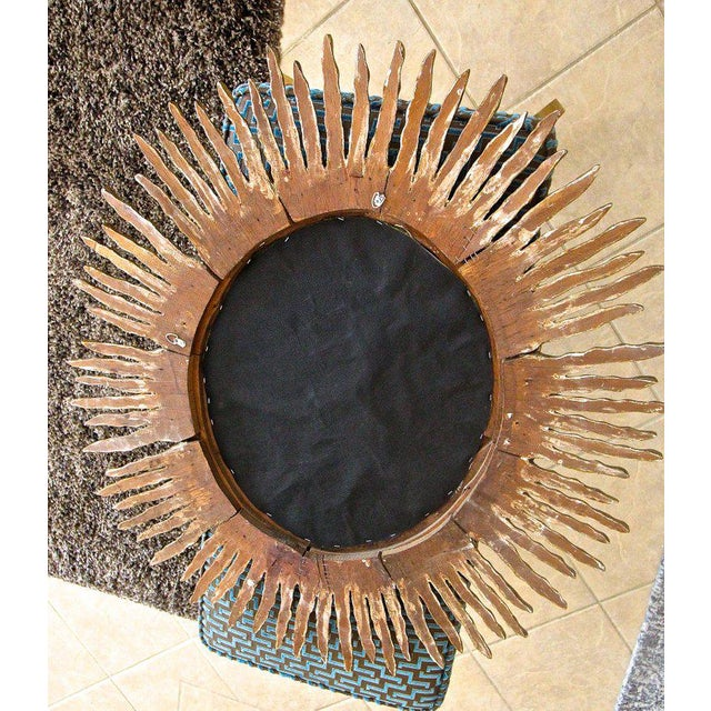 1970s Spanish Colonial Sunburst Oval Giltwood Wall Mirror For Sale - Image 10 of 11
