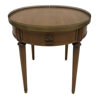 1970s French Empire Henredon Brass Edged Round Wood Side Table For Sale
