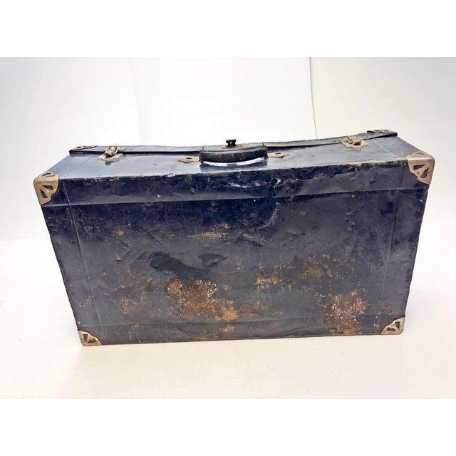 Vintage Distressed Black Metal Storage Trunk For Sale - Image 10 of 13