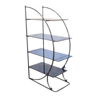 Modernist Art Deco Chrome Blue Glass Four-Tier Ètagerè
