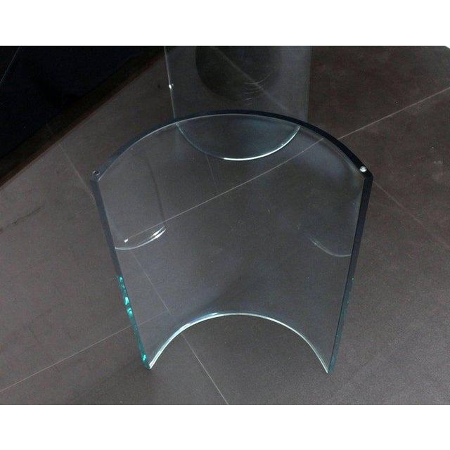 Glass Curved Glass Base Thick 3/4 Glass Top Large Dining Conference Table For Sale - Image 7 of 9