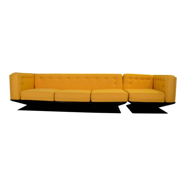 Upholstered in a New Yellow Knoll Wool MIM Roma (Ico Parisi) Sectional Sofa by Luigi Pellegrin - Image 1 of 10