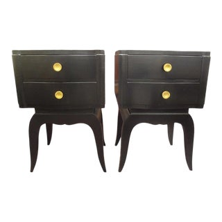 French Art Deco Ebonized Chests or Tables in the Manner of Jules Leleu - A Pair For Sale