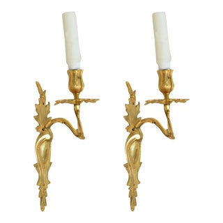 Pair of Louis XV Style Gilt Bronze Single Light Wall Appliques, 19th Century For Sale