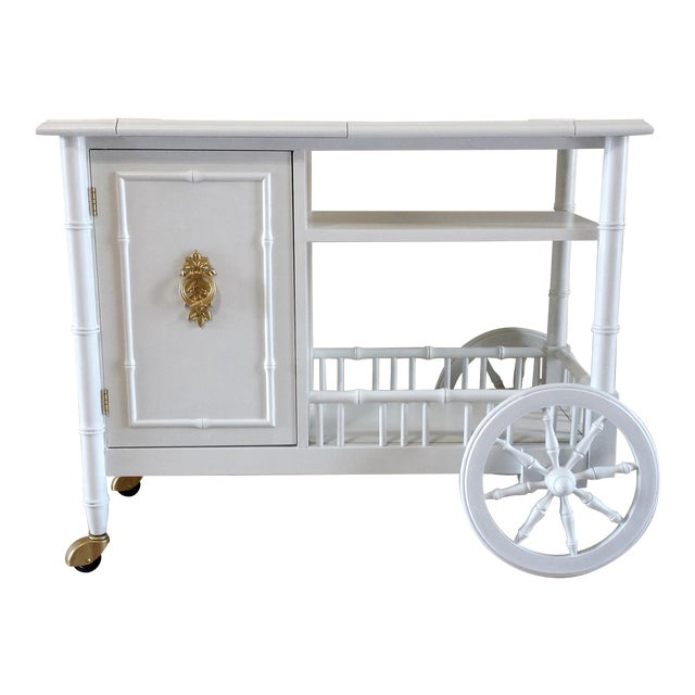 Hollywood Regency Faux Bamboo Bar Cart - Image 1 of 11