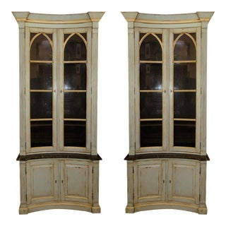 French Country Painted and Distressed Display Cabinets - a Pair For Sale