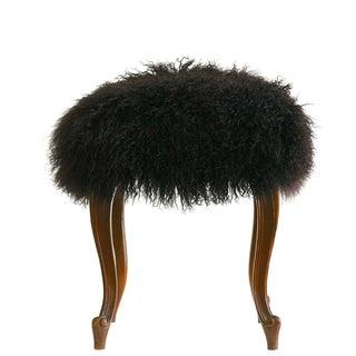 """""""Curly"""" Mongolian Lamb Fur Footstool"""