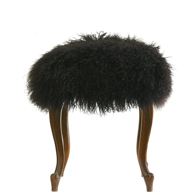 """Curly"" Mongolian Lamb Fur Footstool For Sale"