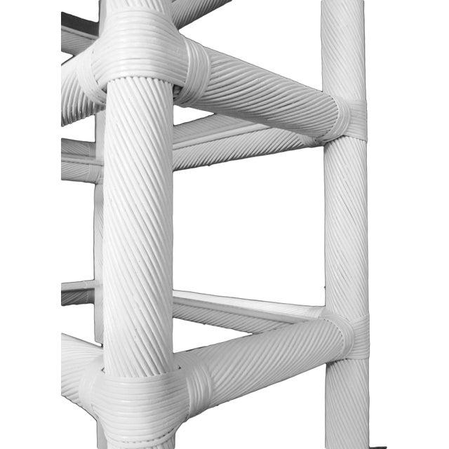 White Lacquered Rattan Étagères - A Pair - Image 5 of 6