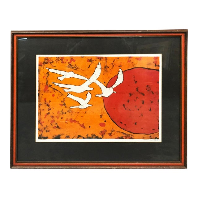 Late 20th Century Abstract Bird Lithograph Print For Sale