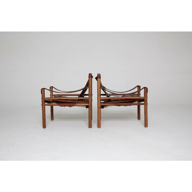 Mid-Century Modern Arne Norell Rosewood and Brown Leather Safari Sirocco Chairs, Sweden, 1960s For Sale - Image 3 of 9