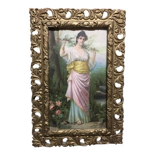 "Late 19th Century Antique ""Awakening of Spring"" T Bernard Victorian Woman Framed Print For Sale"