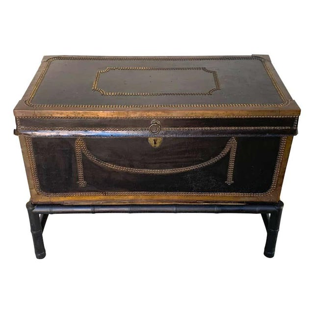 19th Century English Regency Brass Studded Leather Chest on Stand For Sale - Image 10 of 10