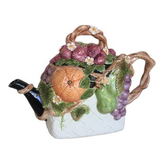 Vintage Majolica Teapot by Duncan For Sale