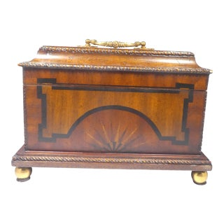 1990s Maitland Smith Inlaid Wood Casket Box For Sale
