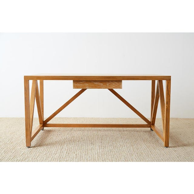 Mid-Century Modern Oak Architectural Writing Table Desk For Sale - Image 9 of 13