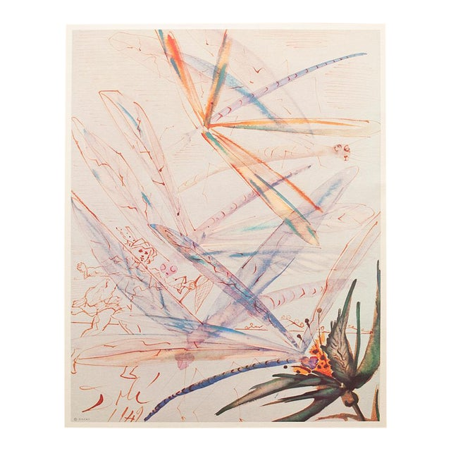 XL 1954 Dali, Dragonflies Original Period Lithograph From From the Mrs. Albert D. Lasker Collection For Sale