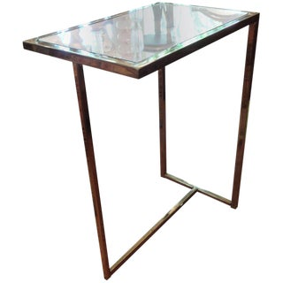 1970s Mid Century Modern Mirror-Topped Brass Side Table