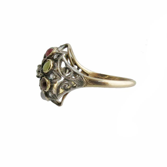 Mid-Century Modern 1950s Vintage 14k Gold Diamond and Gemstone Princess Ring For Sale - Image 3 of 4