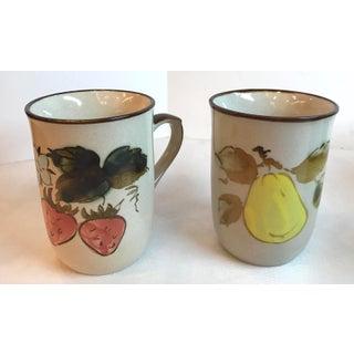 Mid Century Japanese Ceramic Fruit Motif Coffee Mugs - Set of 5 Preview