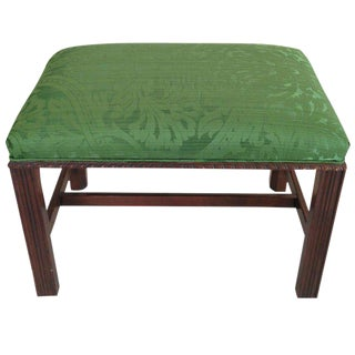 Mahogany English Chippendale Style Stool Upholstered in Green Brocade