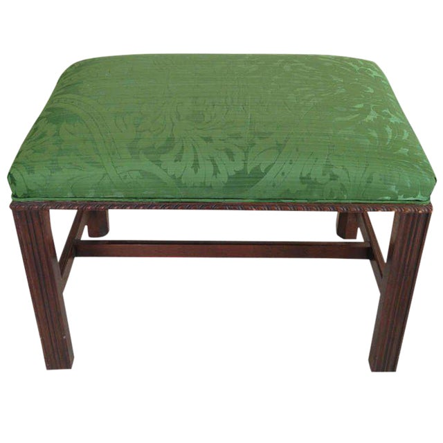 Mahogany English Chippendale Style Stool Upholstered in Green Brocade For Sale