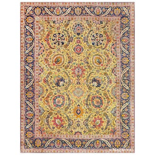 Antique Persian Sickle Leaf Tabriz Rug - 9′ × 12′ For Sale