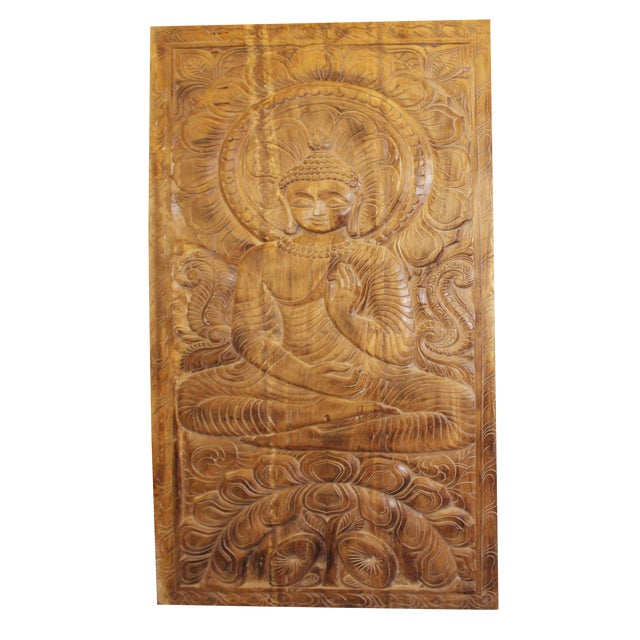 1990s Vintage Hand Carved Buddhism Panel For Sale