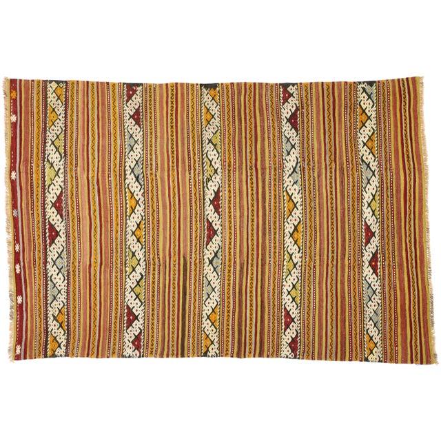 Textile Vintage Mid-Century Turkish Kilim Rug - 5′5″ × 8′2″ For Sale - Image 7 of 9
