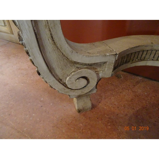 White 19th Century French Console With Marble Top For Sale - Image 8 of 12
