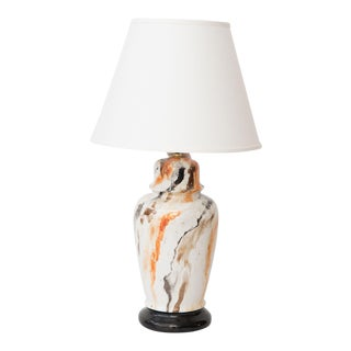 1980s Vintage Hand-Painted Marble Lamp For Sale