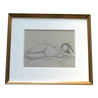 Tom Dameroned Framed Orignal Charcoal Drawing For Sale
