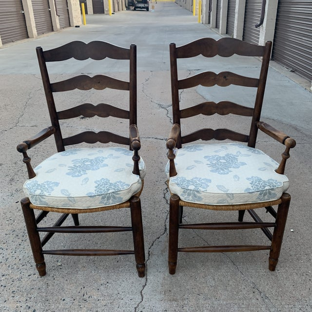 Cottage 1980s Vintage French Provincial Ladder-Back Armchairs- a Pair For Sale - Image 3 of 13