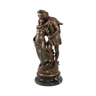 """Antique French Bronzed Spelter Statue by Mathurin Moreau """"Fiancee Du Soldat"""" For Sale"""