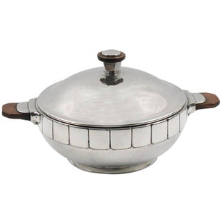 Modernist Polished Pewter Tureen, Covered Dish Centerpiece by h.j. Geneve For Sale